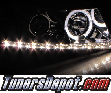 HID Xenon + Sonar® DRL LED Halo Projector Headlights (Black) - 11-15 Chevy Cruze