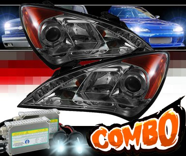 HID Xenon + Sonar® DRL LED Halo Projector Headlights (Smoke) - 10-12 Hyundai Genesis  2dr Coupe