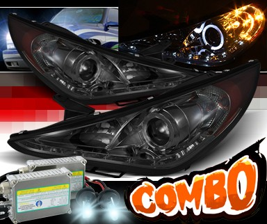 HID Xenon + Sonar® DRL LED Halo Projector Headlights (Smoke) - 11-14 Hyundai Sonata