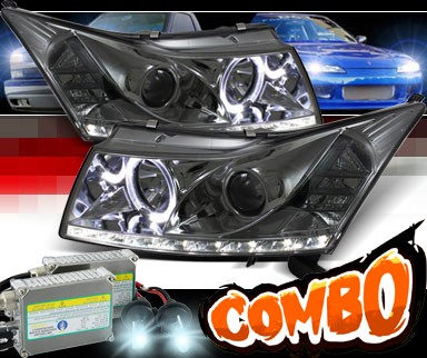 HID Xenon + Sonar® DRL LED Halo Projector Headlights (Smoke) - 11-15 Chevy Cruze