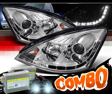 HID Xenon + Sonar® DRL LED Projector Headlights - 00-04 Ford Focus 3/5dr. ZX3 ZX5