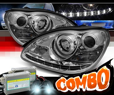 HID Xenon + Sonar® DRL LED Projector Headlights - 00-06 Mercedes-Benz S350 W220 without Stock HID
