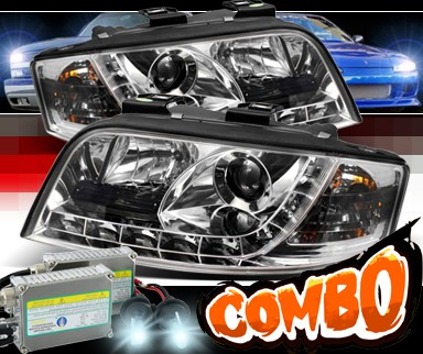 HID Xenon + Sonar® DRL LED Projector Headlights - 02-04 Audi A6