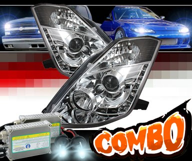 HID Xenon + Sonar® DRL LED Projector Headlights - 03-05 Nissan 350Z