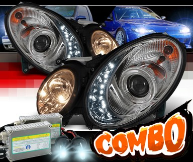 HID Xenon + Sonar® DRL LED Projector Headlights - 03-06 Mercedes Benz E55 AMG W211 (w/o Stock HID)