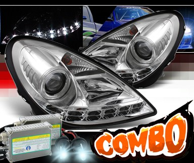 HID Xenon + Sonar® DRL LED Projector Headlights - 05-10 Mercedes Benz SLK55 AMG R171 (w/o Stock HID)