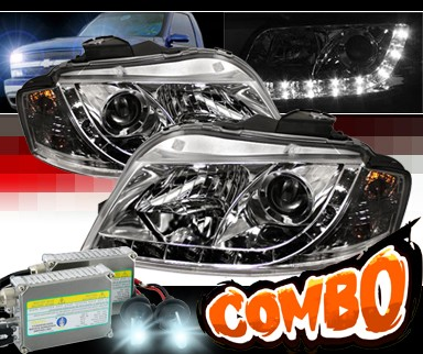 HID Xenon + Sonar® DRL LED Projector Headlights - 06-08 Audi A3