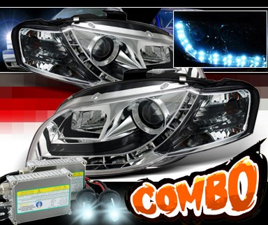 HID Xenon + Sonar® DRL LED Projector Headlights - 06-08 Audi A4 (Exc. Convertible)