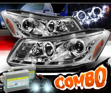 HID Xenon + Sonar® DRL LED Projector Headlights - 08-12 Honda Accord 4dr