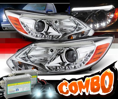 HID Xenon + Sonar® DRL LED Projector Headlights - 12-14 Ford Focus