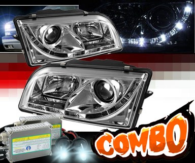 HID Xenon + Sonar® DRL LED Projector Headlights - 97-03 Volvo S40