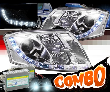 HID Xenon + Sonar® DRL LED Projector Headlights - 99-07 Audi TT