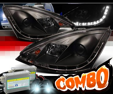 HID Xenon + Sonar® DRL LED Projector Headlights (Black) - 00-04 Ford Focus 3/5dr. ZX3 ZX5