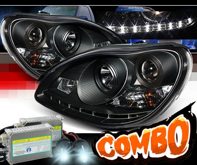 HID Xenon + Sonar® DRL LED Projector Headlights (Black) - 00-06 Mercedes-Benz S430 W220 without Stock HID