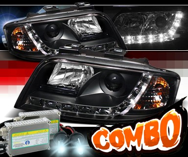 HID Xenon + Sonar® DRL LED Projector Headlights (Black) - 02-04 Audi A6