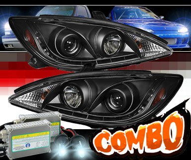 HID Xenon + Sonar® DRL LED Projector Headlights (Black) - 02-06 Toyota Camry