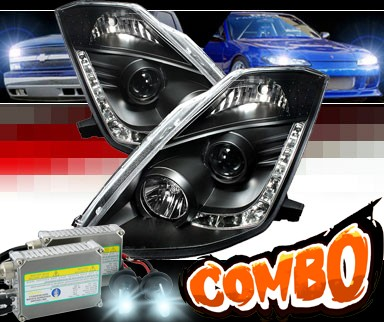 HID Xenon + Sonar® DRL LED Projector Headlights (Black) - 03-05 Nissan 350Z