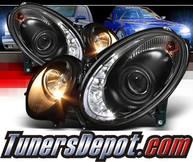 HID Xenon + Sonar® DRL LED Projector Headlights (Black) - 03-06 Mercedes Benz E500 W211 (w/o Stock HID)