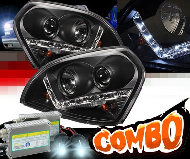 HID Xenon + Sonar® DRL LED Projector Headlights (Black) - 04-09 Hyundai Tucson