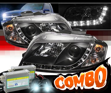 HID Xenon + Sonar® DRL LED Projector Headlights (Black) - 06-08 Audi A3