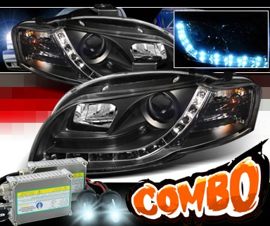HID Xenon + Sonar® DRL LED Projector Headlights (Black) - 06-08 Audi S4 (Exc. Convertible)