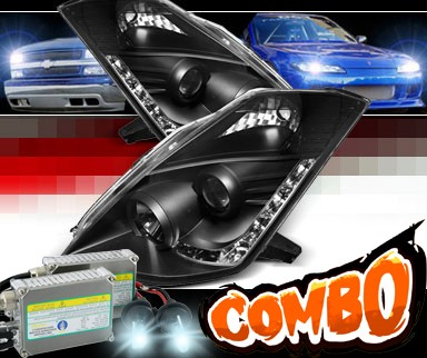 HID Xenon + Sonar® DRL LED Projector Headlights (Black) - 06-09 Nissan 350Z