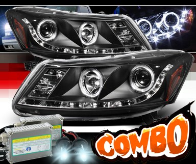 HID Xenon + Sonar® DRL LED Projector Headlights (Black) - 08-12 Honda Accord 4dr