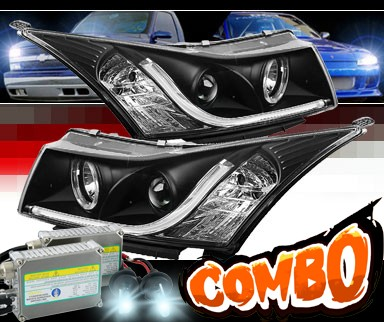HID Xenon + Sonar® DRL LED Projector Headlights (Black) - 11-15 Chevy Cruze