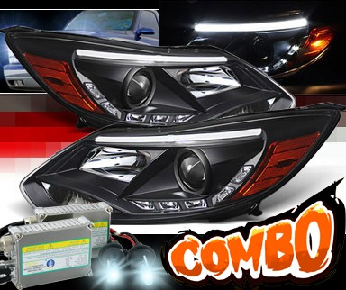HID Xenon + Sonar® DRL LED Projector Headlights (Black) - 12-14 Ford Focus