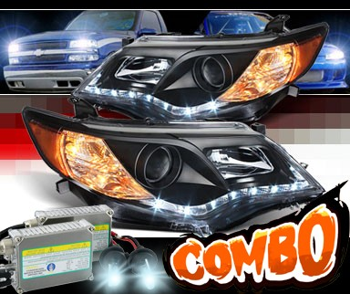 HID Xenon + Sonar® DRL LED Projector Headlights (Black) - 12-14 Toyota Camry