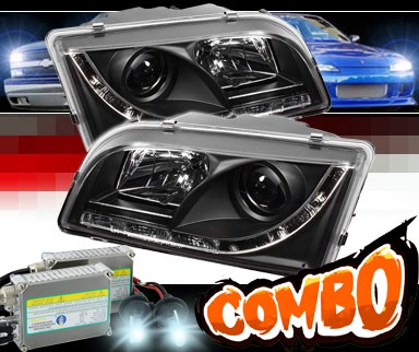 HID Xenon + Sonar® DRL LED Projector Headlights (Black) - 97-03 Volvo S40
