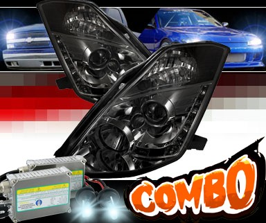 HID Xenon + Sonar® DRL LED Projector Headlights (Smoke) - 03-05 Nissan 350Z