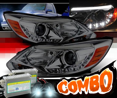 HID Xenon + Sonar® DRL LED Projector Headlights (Smoke) - 12-14 Ford Focus