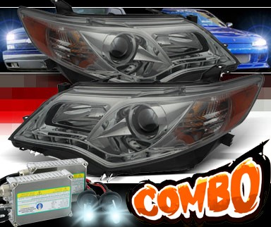 HID Xenon + Sonar® DRL LED Projector Headlights (Smoke) - 12-14 Toyota Camry