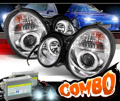 HID Xenon + Sonar® Halo Projector Headlights - 00-02 Mercedes-Benz E320 W210 without Stock HID