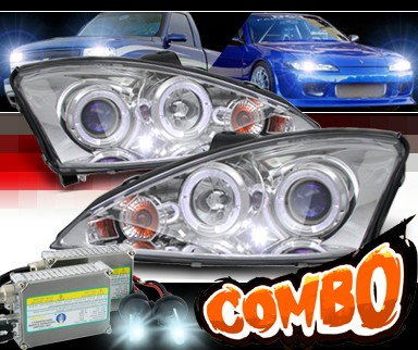 HID Xenon + Sonar® Halo Projector Headlights - 00-04 Ford Focus