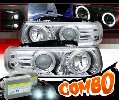 HID Xenon + Sonar® Halo Projector Headlights - 00-06 Chevy Suburban