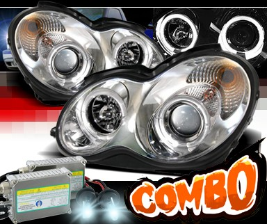 HID Xenon + Sonar® Halo Projector Headlights - 01-05 Mercedes-Benz C320 Sedan W203 without Stock HID