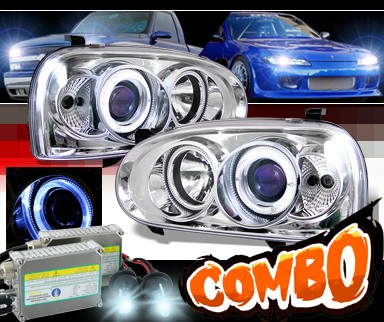 HID Xenon + Sonar® Halo Projector Headlights - 92-98 VW Volkswagen Golf III