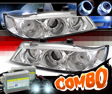 HID Xenon + Sonar® Halo Projector Headlights - 94-97 Honda Accord w/ Amber Reflector