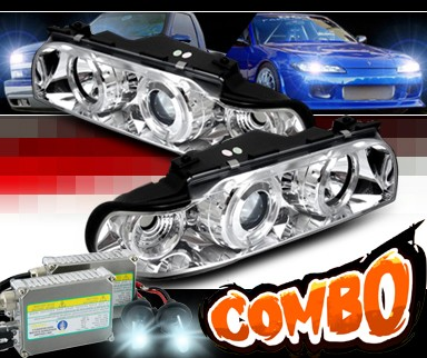 HID Xenon + Sonar® Halo Projector Headlights - 95-98 BMW 740il E38