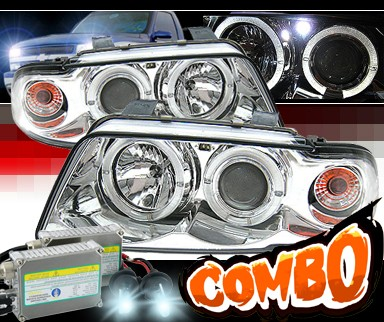 HID Xenon + Sonar® Halo Projector Headlights - 95-99 Audi A4 with 2 piece headlight