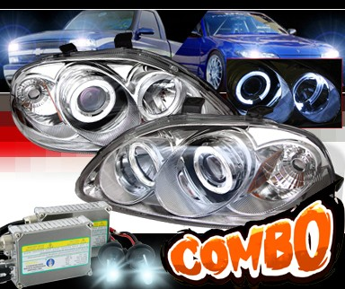 HID Xenon + Sonar® Halo Projector Headlights - 96-98 Honda Civic w/ Amber Reflector