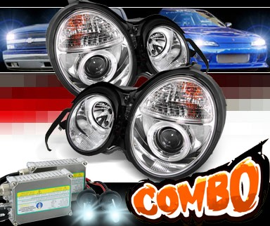 HID Xenon + Sonar® Halo Projector Headlights - 96-99 Mercedes-Benz E300D W210 without Stock HID