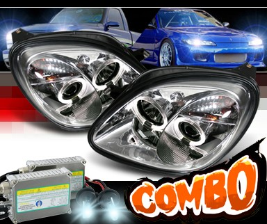 HID Xenon + Sonar® Halo Projector Headlights - 98-00 Mercedes-Benz SLK230 R170 SLK with Bosch Conversion Harness