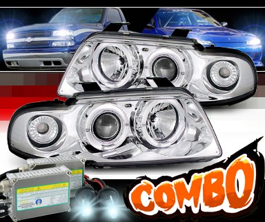 HID Xenon + Sonar® Halo Projector Headlights - 99-01 Audi A4 with 1 Piece Headlight