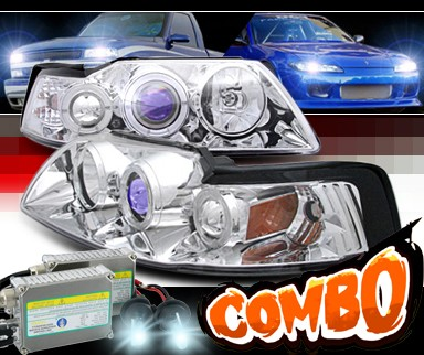 HID Xenon + Sonar® Halo Projector Headlights - 99-04 Ford Mustang
