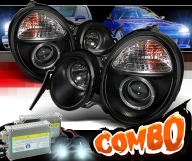 HID Xenon + Sonar® Halo Projector Headlights (Black) - 00-02 Mercedes-Benz E320 W210 without Stock HID
