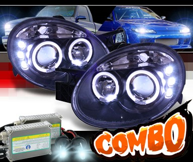 HID Xenon + Sonar® Halo Projector Headlights (Black) - 03-05 Dodge Neon