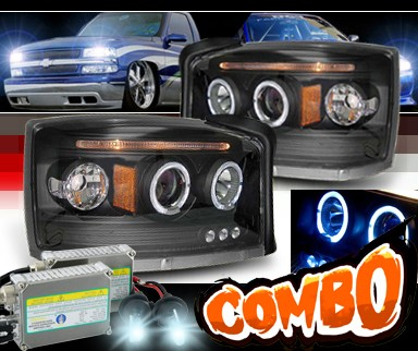 HID Xenon + Sonar® Halo Projector Headlights (Black) - 05-07 Dodge Dakota